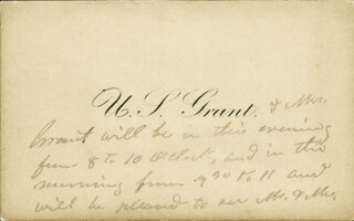 Autographs: PRESIDENT ULYSSES S. GRANT - THIRD PERSON AUTOGRAPH NOTE 12/20/1880