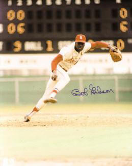 BOB GIBSON - AUTOGRAPHED SIGNED PHOTOGRAPH