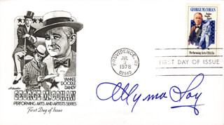 MYRNA LOY - FIRST DAY COVER SIGNED