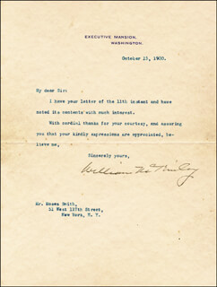 Autographs: PRESIDENT WILLIAM McKINLEY - TYPED LETTER SIGNED 10/15/1900