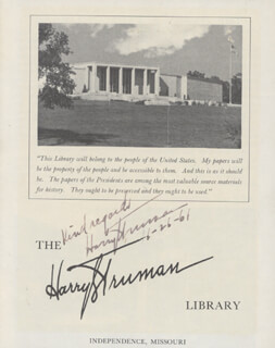 PRESIDENT HARRY S TRUMAN - AUTOGRAPHED SIGNED PHOTOGRAPH 06/26/1961