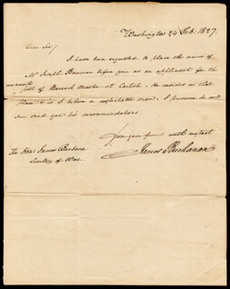 Autographs: PRESIDENT JAMES BUCHANAN - AUTOGRAPH LETTER SIGNED 02/24/1827