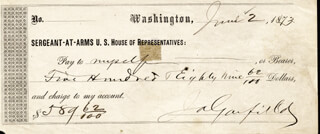 PRESIDENT JAMES A. GARFIELD - AUTOGRAPHED SIGNED CHECK 06/02/1873