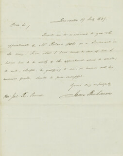 Autographs: PRESIDENT JAMES BUCHANAN - AUTOGRAPH LETTER SIGNED 07/19/1839