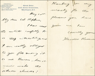 Autographs: PRESIDENT THEODORE ROOSEVELT - AUTOGRAPH LETTER SIGNED 5/20