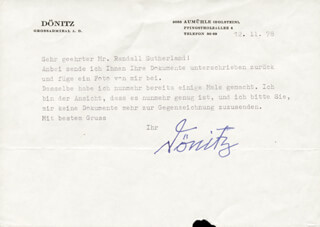 GRAND ADMIRAL KARL DONITZ - TYPED LETTER SIGNED 12/11/1978