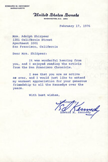 Edward Quot Ted Quot Kennedy Typed Letter Signed 02 17 1976 Historyforsale Item 13503