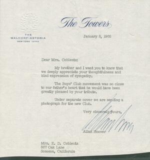 ALLAN HOOVER - TYPED LETTER SIGNED 01/08/1965