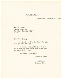 PRIME MINISTER MENACHEM BEGIN (ISRAEL) - TYPED LETTER SIGNED 12/23/1981