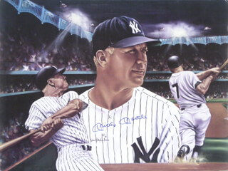 MICKEY MANTLE - PRINTED ART SIGNED IN INK