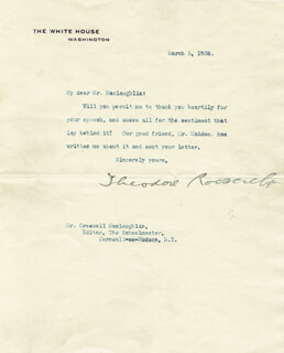 PRESIDENT THEODORE ROOSEVELT - TYPED LETTER SIGNED 03/05/1908