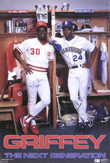 KEN GRIFFEY SR. - AUTOGRAPHED SIGNED POSTER CO-SIGNED BY: KEN GRIFFEY JR.