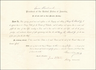 PRESIDENT GROVER CLEVELAND - CIVIL APPOINTMENT SIGNED 07/09/1885 CO-SIGNED BY: JAMES M. PORTER