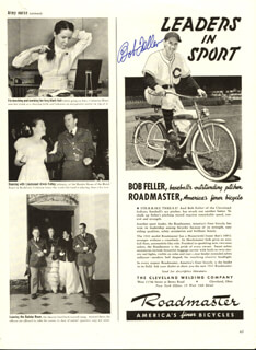 BOB FELLER - MAGAZINE ADVERTISEMENT SIGNED
