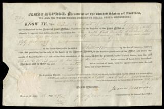 PRESIDENT JAMES MONROE - LAND GRANT SIGNED 10/08/1824 CO-SIGNED BY: GEORGE GRAHAM