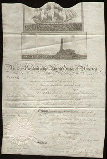 PRESIDENT JAMES MADISON - WHALING SHIPS PAPERS SIGNED 10/17/1809 CO-SIGNED BY: DAVID GELSTON, ROBERT SMITH (POLITICIAN)