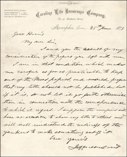 PRESIDENT JEFFERSON DAVIS (CONFEDERATE STATES OF AMERICA) - AUTOGRAPH LETTER SIGNED 06/25/1873