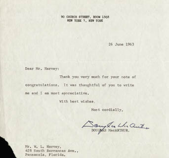 GENERAL DOUGLAS MACARTHUR - TYPED LETTER SIGNED 06/26/1963