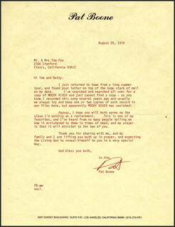 PAT BOONE - TYPED LETTER SIGNED 08/25/1978
