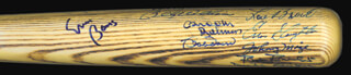 WILLIE SAY HEY KID MAYS - BASEBALL BAT SIGNED CO-SIGNED BY: LUKE APPLING, BILLY WILLIAMS, AL BARLICK, ERNIE MR. CUB BANKS, BOB FELLER, WHITEY FORD, JOHNNY MIZE, LOU BROCK, ENOS SLAUGHTER, BOBBY DOERR, BILLY HERMAN, BROOKS ROBINSON, WILLIE STARGELL, ROBIN ROBERTS, MONTE IRVIN, DUKE SNIDER