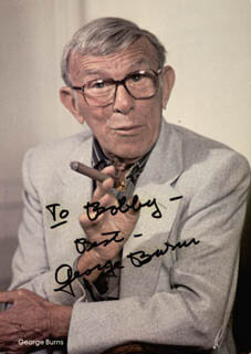 GEORGE BURNS - INSCRIBED PICTURE POSTCARD SIGNED CIRCA 1987