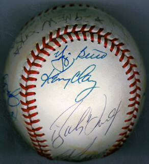 THE NEW YORK YANKEES - AUTOGRAPHED SIGNED BASEBALL CIRCA 1979 CO-SIGNED BY: YOGI BERRA, TOMMY JOHN, WILLIE RANDOLPH, KENNETH E. CLAY, ED FIGGY FIGUEROA, BUCKY DENT, RON DAVIS, CHRIS CHAMBLISS, REGGIE MR. OCTOBER JACKSON, DON GULLETT, JIM SPENCER, JUAN BENIQUEZ, JAY JOHNSTONE, FRED STANLEY, JIM CATFISH HUNTER