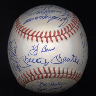 THE 1961 NEW YORK YANKEES - AUTOGRAPHED SIGNED BASEBALL CO-SIGNED BY: YOGI BERRA, BUD DALEY, ART DITMAR, JOE DE MAESTRI, BILLY GARDNER, JIM COATES, BILL MOOSE SKOWRON, CLETE BOYER, HECTOR LOPEZ, JOHNNY BLANCHARD, RYNE DUREN, JOHNNY SAIN, AL LITTLE AL DOWNING, BILL STAFFORD, JESSE GONDER, DANNY McDEVITT, JOHNNY JAMES, JACK REED, LUIS YO-YO ARROYO, ROLLIE SHELDON, BOB CERV, EARL TORGESON, TEX CLEVENGER, WHITEY FORD, BOB HALE, RALPH HOUK, TOM TRESH, MICKEY MANTLE, RALPH TERRY, BOB TURLEY, DERON JOHNSON, HAL RENIFF