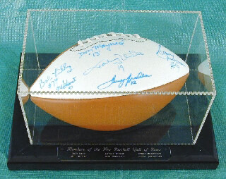 HALL OF FAME FOOTBALL - FOOTBALL SIGNED CO-SIGNED BY: SONNY JURGENSEN, TERRY BRADSHAW, BOB LILLY, JOHNNY UNITAS, MEL BLOUNT, DON MAYNARD