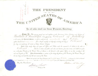 Autographs: PRESIDENT WILLIAM McKINLEY - MILITARY APPOINTMENT SIGNED 10/25/1899 CO-SIGNED BY: LT. GENERAL HENRY C. CORBIN, ELIHU ROOT