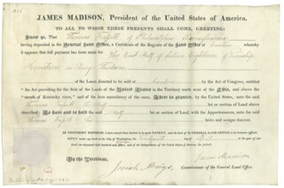 PRESIDENT JAMES MADISON - LAND GRANT SIGNED 04/26/1816 CO-SIGNED BY: JOSIAH MEIGS