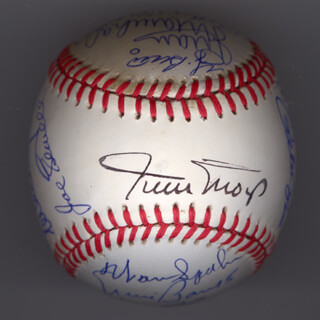 Autographs: HALL OF FAME BASEBALL - BASEBALL SIGNED CO-SIGNED BY: YOGI BERRA, JIM PALMER, HARMON KILLEBREW, JUAN MARICHAL, ERNIE MR. CUB BANKS, LUIS APARICIO, WHITEY FORD, STAN THE MAN MUSIAL, FRANK ROBINSON, HANK AARON, BOB LEMON, MICKEY MANTLE, WARREN SPAHN, BILLY HERMAN, PETE ROSE, WILLIE SAY HEY KID MAYS, JOE SEWELL