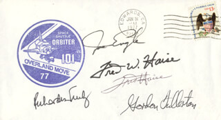 MAJOR GENERAL JOE ENGLE - COMMEMORATIVE ENVELOPE SIGNED CO-SIGNED BY: FRED W. HAISE JR., VICE ADMIRAL RICHARD H. TRULY, COLONEL C. GORDON FULLERTON