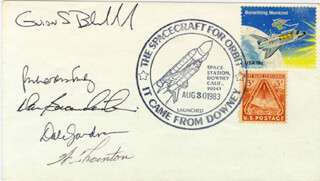 VICE ADMIRAL RICHARD H. TRULY - COMMEMORATIVE ENVELOPE SIGNED CO-SIGNED BY: CAPTAIN DANIEL C. BRANDENSTEIN, WILLIAM E. THORNTON, COLONEL GUION S. GUY BLUFORD JR., COMMANDER DALE A. GARDNER