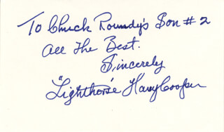 HARRY LIGHTHORSE COOPER - AUTOGRAPH NOTE SIGNED