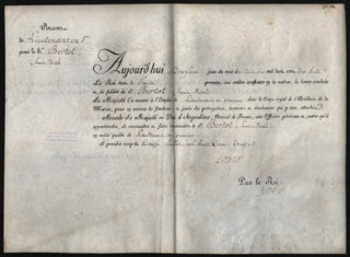 Autographs: KING LOUIS XVIII (FRANCE) - MILITARY APPOINTMENT SIGNED 12/12/1818 CO-SIGNED BY: LOUIS ANTOINE DUKE OF ANGOULEME D'ARTOIS