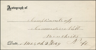 COMMODORE NUTT - AUTOGRAPH SENTIMENT SIGNED 03/28/1869