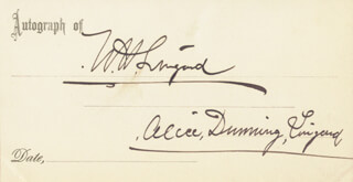 WILLIAM H. LINGARD - PRINTED CARD SIGNED IN INK CO-SIGNED BY: ALICE DUNNING LINGARD