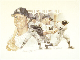 MICKEY MANTLE - PRINTED ART SIGNED IN INK CIRCA 1984 CO-SIGNED BY: JOHN B. MARTIN