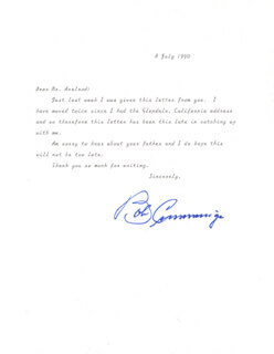 ROBERT BOB CUMMINGS - TYPED LETTER SIGNED 07/08/1990