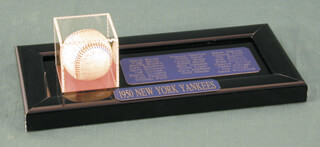 Autographs: THE NEW YORK YANKEES - BASEBALL SIGNED CIRCA 1950 CO-SIGNED BY: YOGI BERRA, FRANK CROSETTI, JERRY COLEMAN, VIC RASCHI, LEW BURDETTE, WALLY HOOD, CLIFF TIGER MAPES, JOHNNY HIPPITY HOPP, CHARLIE SWEDE SILVERA, JOE (JOSEPH KOLLONIGE) COLLINS, FRED SANFORD, TOM FERRICK, BILLY BULL JOHNSON, WHITEY FORD, RALPH HOUK, GENE SKIP MAUCH, JOHNNY MIZE, JIM MILKMAN JIM TURNER, PHIL RIZZUTO, TOMMY HENRICH, EDDIE LOPAT, DAVE ADISON, CASEY THE OLD PROFESSOR STENGEL, GENE WOODLING, HANK BAUER, BOBBY BROWN