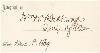 Autographs: MAJOR GENERAL WILLIAM W. BELKNAP - SIGNATURE(S) 12/08/1869