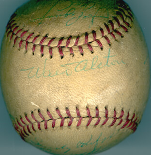 Autographs: THE LOS ANGELES DODGERS - BASEBALL SIGNED CIRCA 1959 CO-SIGNED BY: STAN BIG DADDY WILLIAMS, JOHNNY PODRES, CHARLIE NEAL, LARRY SHERRY, PETE REISER, JOHNNY ROSEBORO, NORM LARKER, DANNY McDEVITT, CHUCK ESSEGIAN, GIL HODGES, JOE PIGNATANO, WALTER E. SMOKEY ALSTON, WALLY MOON, DON DRYSDALE, SANDY KOUFAX, ROGER CRAIG