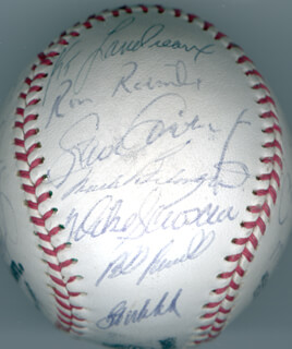 Autographs: THE LOS ANGELES DODGERS - BASEBALL SIGNED CIRCA 1982 CO-SIGNED BY: BILL RUSSELL, DUSTY BAKER, JORGE (JORGE ORTA NUNEZ) ORTA, DERREL O. THOMAS, MIKE SCIOSCIA, BOB WELCH, TOM NIEDENFUER, JERRY ROLLS REUSS, DAVE SMOKE STEWART, RON ROENICKE, PEDRO GUERRERO, KEN LANDREAUX, MARK BELANGER, TOM LASORDA, FERNANDO VALENZUELA, STEVE GARVEY, RICK MONDAY, JOSE MORALES