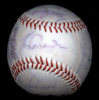 Autographs: THE LOS ANGELES DODGERS - BASEBALL SIGNED CO-SIGNED BY: BILL RUSSELL, DUSTY BAKER, DERREL O. THOMAS, MIKE SCIOSCIA, STEVE HOWE, BOB WELCH, REGGIE SMITH, TOM NIEDENFUER, JERRY ROLLS REUSS, DAVE SMOKE STEWART, KEN LANDREAUX, JAY JOHNSTONE, TOM LASORDA, STEVE GARVEY, DAVE GOLTZ