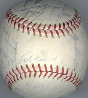 THE DETROIT TIGERS - AUTOGRAPHED SIGNED BASEBALL CIRCA 1967 CO-SIGNED BY: TONY CHICK CUCCINELLO, FRED GLADDING, DENNY McLAIN, MICKEY STANLEY, NORM CASH, JOHNNY PODRES, MAYO SMITH, JIM LANDIS, DON WERT, RAY OYLER, BILL FREEHAN, DAVE WICK WICKERSHAM, DICK McAULIFFE, JOE SPARMA, JIM NORTHRUP, JOHNNY SAIN, DICK TRACEWSKI, WALLY MOSES, BILL HEATH, JIM PRICE, EARL MOOSE WILSON, MIKE G. MARSHALL, HANK AGUIRRE, PAT DOBSON, GATES BROWN, WILLIE HORTON, MICKEY LOLICH, JERRY LUMPE, AL MR. TIGER KALINE, JOHN HILLER