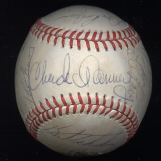 THE PITTSBURGH PIRATES - AUTOGRAPHED SIGNED BASEBALL CIRCA 1980 CO-SIGNED BY: STEVE NICOSIA, BOB SKINNER, CHUCK (CHARLES WILLIAM) TANNER, MIKE EASLER, JOHN THE CANDY MAN CANDELARIA, KENT TEKE TEKULVE, MANNY SANGUILLEN, PHILIP M. SCRAP IRON GARNER, JIM BIBBY, EDDIE BUDDY SOLOMON, BERT BLYLEVEN, DALE BERRA, ENRIQUE ROMO, TIM FOLI, LEE LACY, WILLIE STARGELL, RICK RHODEN, ED OTT, DAVE ROBERTS