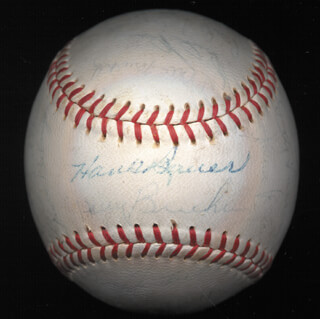 THE BALTIMORE ORIOLES - AUTOGRAPHED SIGNED BASEBALL CIRCA 1965 CO-SIGNED BY: CURT CLANK BLEFARY, JIM PALMER, JACKIE BRANDT, STEVE BARBER, LUIS APARICIO, BOOG POWELL, JERRY ADAIR, HARRY THE CAT BRECHEEN, JOHN MILLER, WALLY BUNKER, DICK BROWN, DAVE McNALLY, CARL W. WARWICK, DICK HALL, ROBERT BOB JOHNSON, BILLY HUNTER, JOHNNY ORSINO, RUSS SNYDER, MARK BELANGER, HARVEY HADDIX, STU MILLER, BROOKS ROBINSON, NORM SIEBERN, PAUL BLAIR, MILT GIMPY PAPPAS, DON LARSEN, HANK BAUER