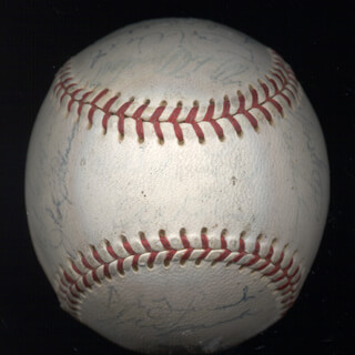 THE DETROIT TIGERS - AUTOGRAPHED SIGNED BASEBALL CO-SIGNED BY: FRED GLADDING, DENNY McLAIN, NORM CASH, MAYO SMITH, DON WERT, JOE SPARMA, BILL HEATH, EARL MOOSE WILSON, HANK AGUIRRE, PAT DOBSON, GATES BROWN, JERRY LUMPE