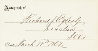 Autographs: MAJOR GENERAL RICHARD J. OGLESBY - SIGNATURE(S) 03/19/1869