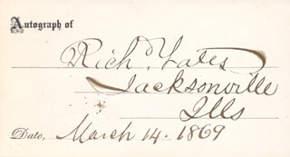 Autographs: RICHARD YATES - PRINTED CARD SIGNED IN INK 03/14/1869
